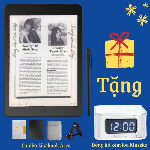 Combo: Máy đọc sách Likebook Ares Note + Bao da + Dán màn hình + Túi chống sốc + Tặng Đồng hồ kèm loa cao cấp Massko